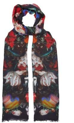 Alexander McQueen Drip Flower Print Silk Scarf - Womens - Black Multi