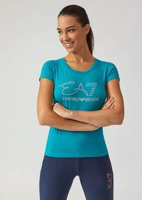 Emporio Armani Ea7 T-Shirt With Rhinestone Logo And Iridescent Print