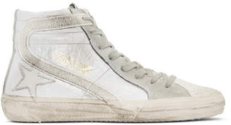 Golden Goose White Glitter Slide High-Top Sneakers
