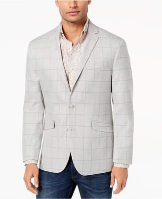 Kenneth Cole Reaction Men Slim-Fit Stretch Light Gray Windowpane Sport Coat, Online Only