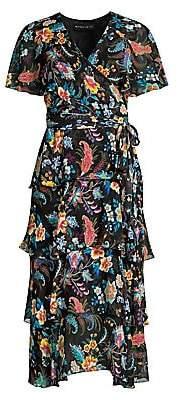 Etro Women's Fern Floral Tiered Ruffle Silk Dress