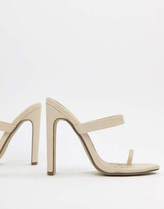 Missguided high heeled toe post mule sandal in beige