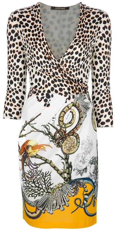 Roberto Cavalli printed longsleeve dress