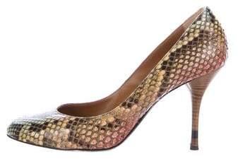 Fendi Snakeskin Round-Toe Pumps
