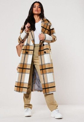Missguided Mustard Plaid Oversized Cocoon Coat