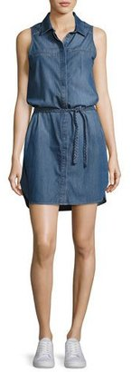 Paige Denim Eugenie Sleeveless Belted Chambray Shirtdress, Crispin $199 thestylecure.com