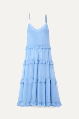 Les Rêveries Ruffle-trimmed Tiered Silk-chiffon Maxi Dress - Sky blue