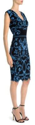 Versace Graphic-Print Cap-Sleeve V-Neck Knit Sheath Dress