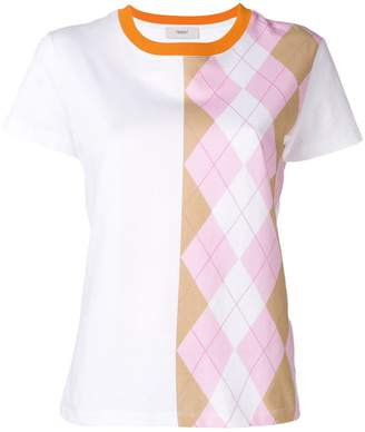 Pringle Argyle Print T-shirt In Pink/Camel