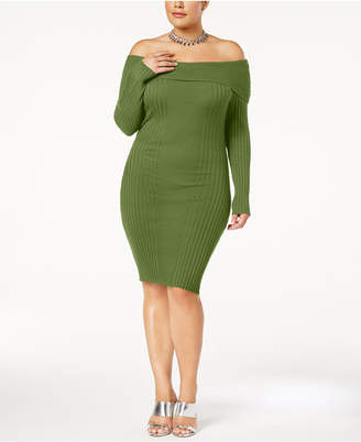 Say What Trendy Plus Size Off-The-Shoulder Bodycon Dress