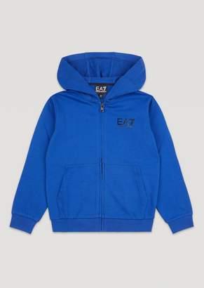 Emporio Armani Boys Ea7 Logo Cotton Sweatshirt With Zip And Hood