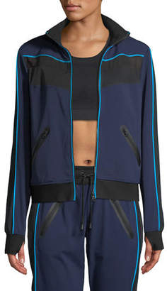 Blanc Noir Zip-Front Mesh-Panel Running Jacket