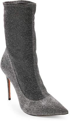 Schutz Mislane Metallic Pointed Toe Sock Booties