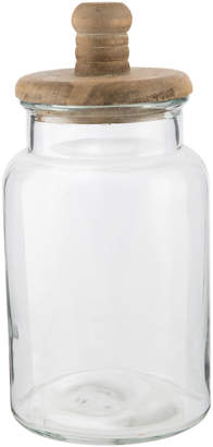 clear Lifestyle Traders Glass Canister Jar With Wood Lid