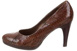 Rafe Embossed Leather Round-Toe Pumps
