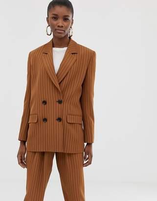 Asos Design DESIGN pinstripe sharp shoulder blazer