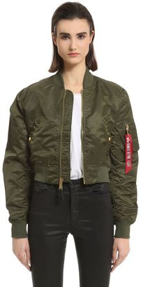 Slim Fit Nylon Cropped Bomber Jacket $193 thestylecure.com