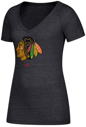 adidas Women Chicago Blackhawks Distressed Logo T-Shirt