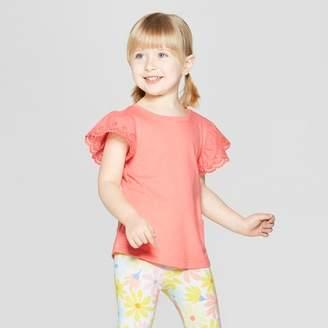Cat & Jack Toddler Girls' Cap Sleeve T-Shirt Peach