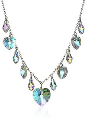 Swarovski Aurora Borealis Element Sterling Silver Alternating Drop and Heart Chain Necklace