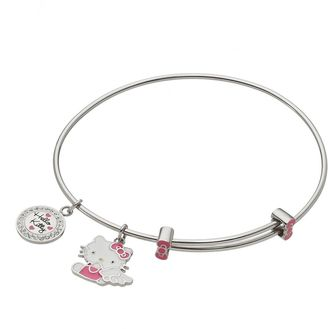 Hello Kitty® Crystal Stainless Steel Charm Bangle Bracelet $75 thestylecure.com