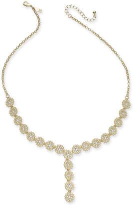 "INC International Concepts I.n.c. Gold-Tone Crystal & Imitation Pearl Flower Lariat Necklace, 23"" + 3"" extender"