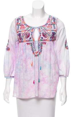 Calypso Embroidered Tie-Dye Top