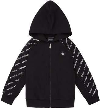 Versace Logo Sleeve Zipped Hoodie