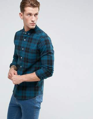 Asos Stretch Slim Twill Check Shirt In Teal