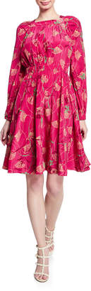 Valentino Long-Sleeve Floral Silk Dress