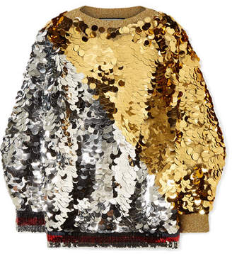 Gucci Embellished Metallic Knitted Sweater - Gold