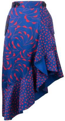 Self-Portrait patterned asymmetric skirt