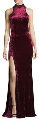 La Femme Crushed Velvet Cutout Racerback Gown
