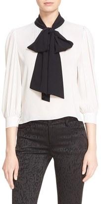 Alice + Olivia 'Treena' Contrast Bow Stretch Silk Blouse $295 thestylecure.com