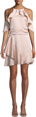 Halston Flouncy Cold-Shoulder Halter Mini Dress