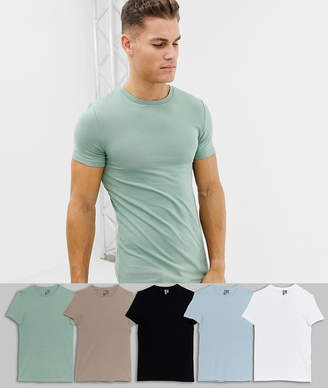 244dcecef3de Asos Design DESIGN muscle fit t-shirt with crew neck 5 pack multipack saving