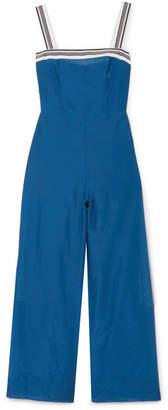 Diane von Furstenberg Striped Grosgrain-trimmed Cotton And Silk-blend Jumpsuit