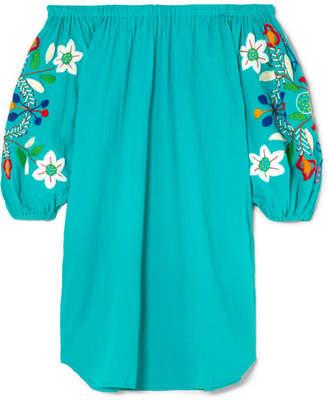 Sensi Studio - Off-the-shoulder Embroidered Crinkled-cotton Mini Dress - Turquoise