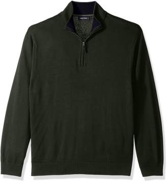 Nautica Men's Long Sleeve 1/4 Zip Solid Sweater with Suede Pull Detail Sweater