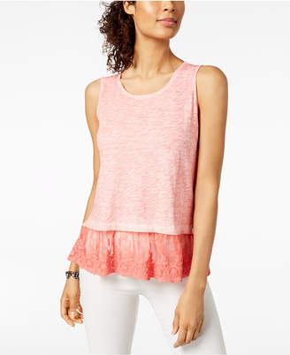 Style&Co. Style & Co Petite Lace-Hem Tank Top, Created for Macy's