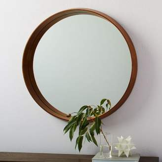 west elm Wood Frame Ledge Round Wall Mirror