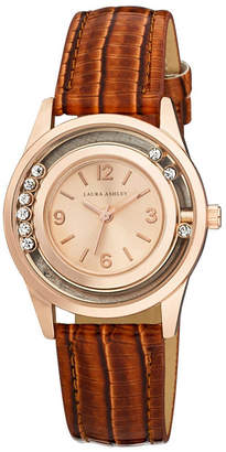Laura Ashley Fashion Watch with Rolling Stones Dial and Brown Leather Band