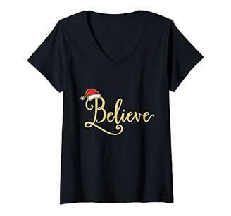 Womens Christmas Believe Santa's Hat V-Neck T-Shirt
