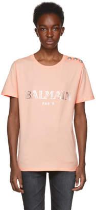 Balmain Pink Logo Buttoned T-Shirt