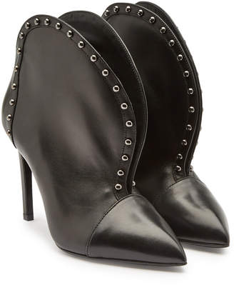 Balmain Iren Embellished Leather Ankle Boots