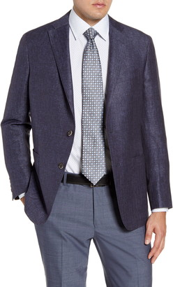 Hickey Freeman Classic Fit Herringbone Linen Blend Sport Coat