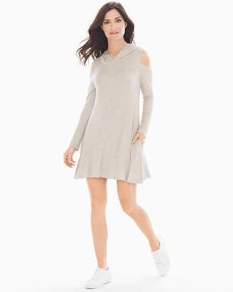 1ed98afe9783ad ... Elan International Cold Shoulder Hooded Short Dress Oatmeal