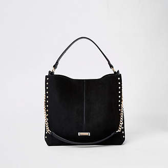 River Island Black studded side slouch bag