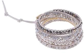 Nakamol Design Crystal & Imitation Pearl Beaded Wrap Bracelet