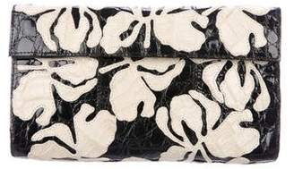 Nancy Gonzalez Embellished Crocodile Flap Clutch